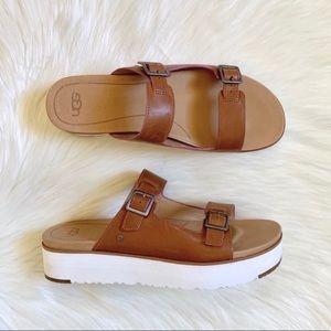 UGG Hanneli Platform Slide Leather Sandals